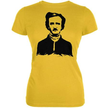 Halloween Edgar Allen Poe Bright Yellow Juniors Soft T-Shirt - Allen Halloween No Love