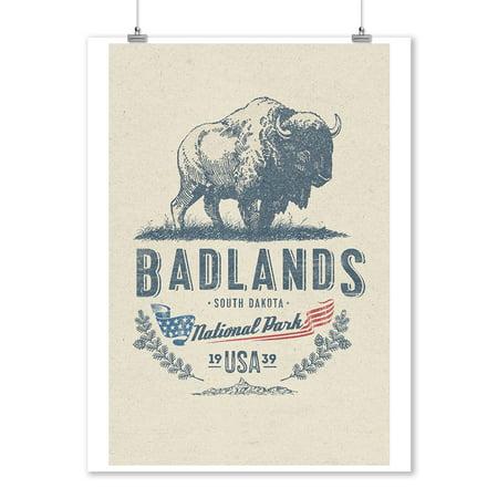 Badlands National Park, South Dakota - Buffalo Insignia - Lantern Press Artwork (9x12 Art Print, Wall Decor Travel Poster)