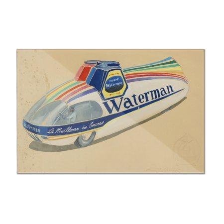 Waterman Vintage Poster (artist: Geo Ham)  c. 1933 (12x8 Acrylic Wall Art Gallery (Geo Ham)