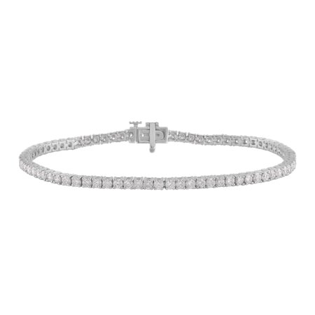 3.00 Carat T.W. Round Diamond 14K White Gold Tennis Bracelet. 7