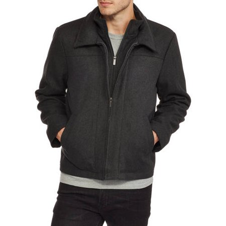 Big Men's Wool Blend Zip Front Jacket with Layered Collar
