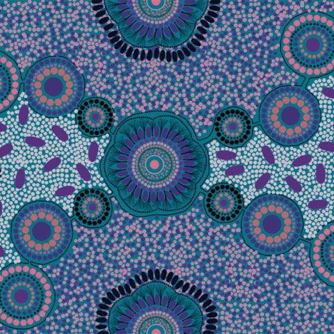 Meeting Places Blue - Australian Aboriginal - Cotton Fabric -  M & S Textiles
