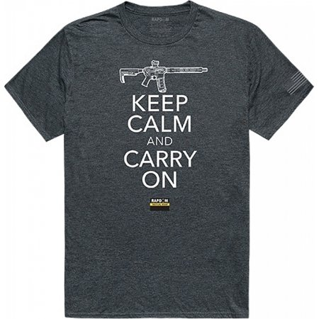 RapDom Keep Calm and Carry On Tactical Graphics Mens Tee [Heather Charcoal Grey -