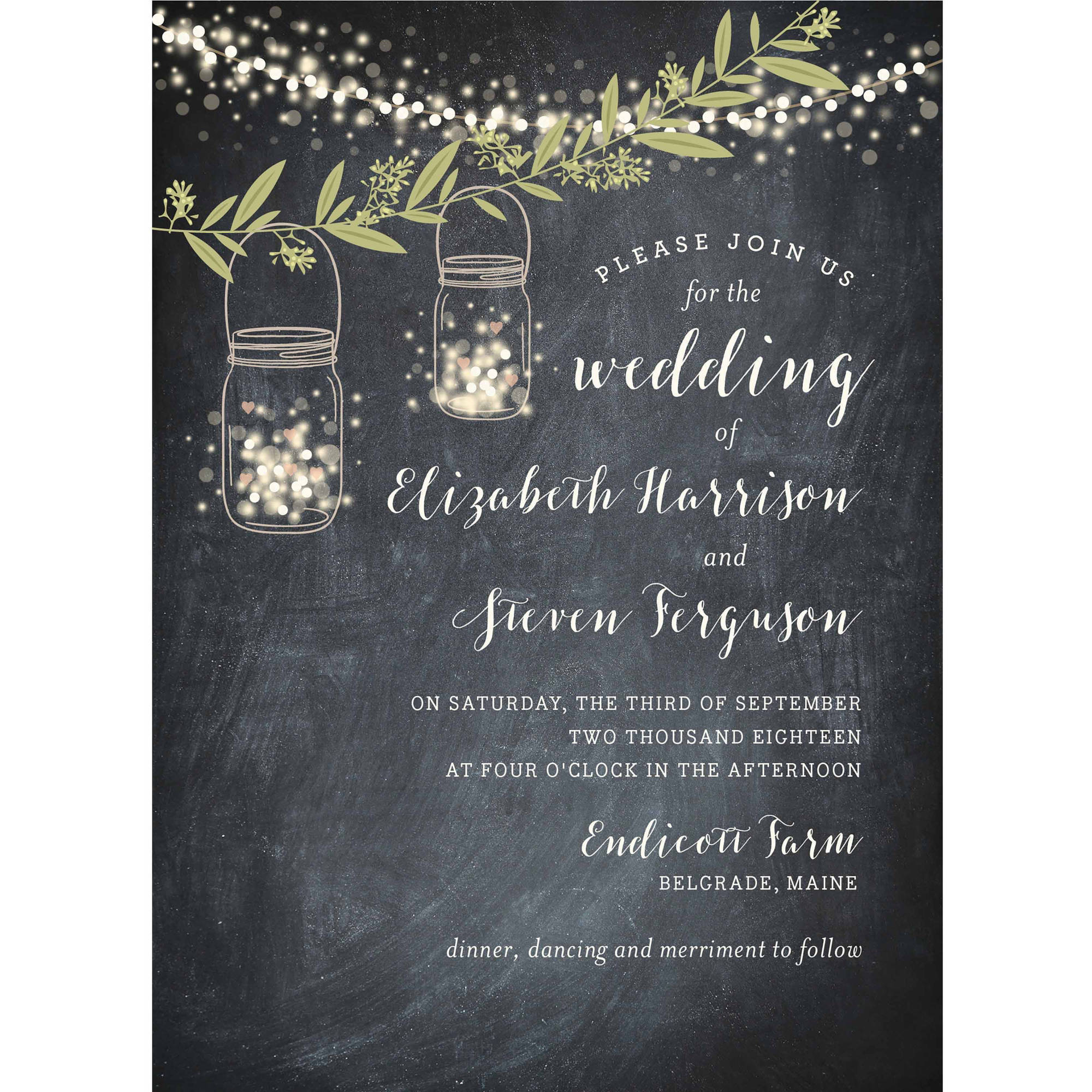 Twinkling Jars Standard Wedding Invitation