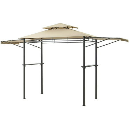 Mainstays Grill Gazebo With Adjustable Awning Light Brown