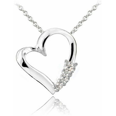 CZ Three-Stone Sterling Silver Floating Heart -