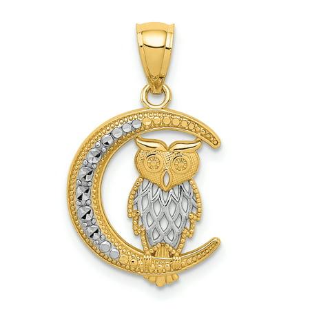 14k Gold Owl Pendant (14K Yellow Gold & White Rhodiumm Diamond Cut Owl On The Moon Pendant )
