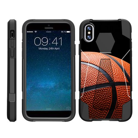 TurtleArmor ®   For Apple iPhone X   Apple iPhone 10 [Dynamic Shell] Dual Layer Hybrid Silicone Hard Shell Kickstand Case - Basketball