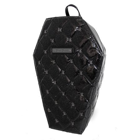 Lucy Black Quilted PVC Coffin Backpack with Spiders by Rock Rebel