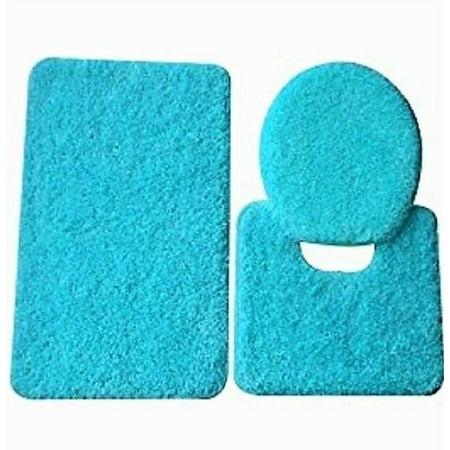 3 Pc Turquoise Blue Bathroom Set Bath Mat Rug Contour