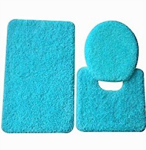3 Pc TURQUOISE BLUE  Bathroom Set Bath Mat RUG, Contour, and Toilet Lid Cover, with Rubber Backing #6