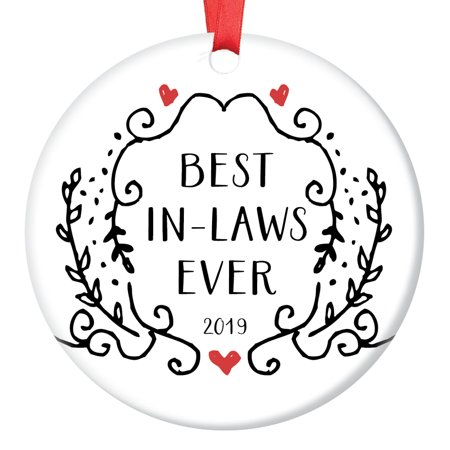 """Sentimental Gifts for Mother-In-Law Christmas Ornament Groom Bride Father Best Wedding Present Ideas Family Keepsake Dated Year Pretty Black & White Greenery Ceramic Tree Decorations 3"""" OR01065 ()"""