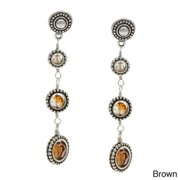Charming Life Silver Graduated Framed Round Crystals 3-Drop Long Earrings Brown