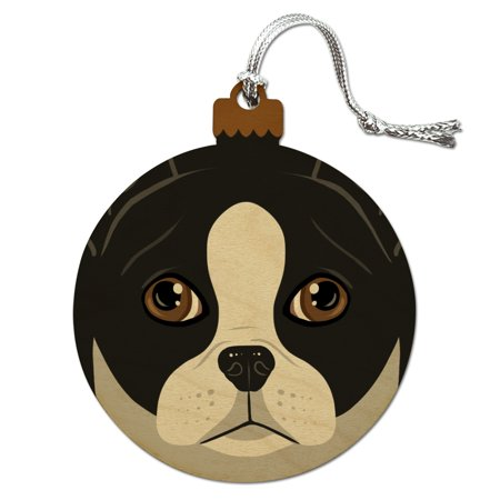 Boston Terrier Dog Ornament - Boston Terrier Look Into My Eyes Face Pet Dog Wood Christmas Tree Holiday Ornament