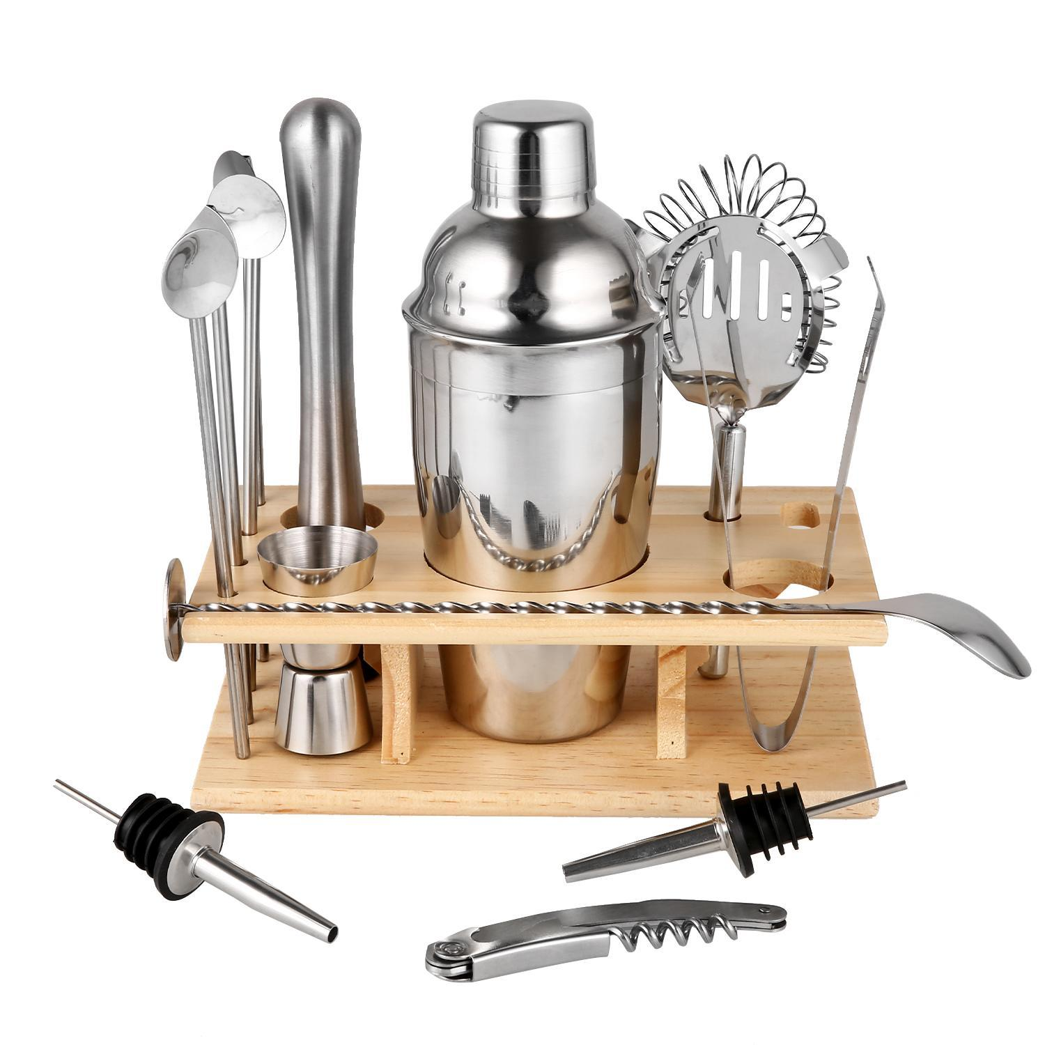 14 Piece Cocktail Bar Set Shaker Stainless Steel With Beech Stand 4 Straw Spoons Muddler Double Sided Jigger... by