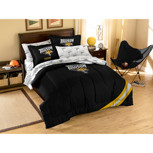 NCAA Applique Bedding Comforter Set with Sheets, Towson State