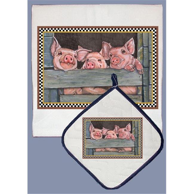 Pipsqueak Productions DP601 Pig Dish Towel And Pot Holder Set