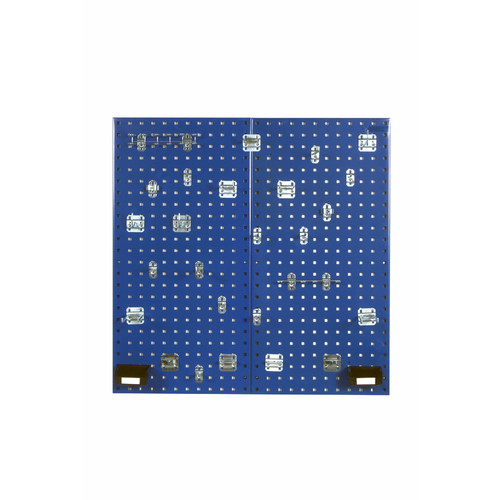 """LocBoard (2) 18""""W x 36""""H x 9/16""""D Steel Square Hole Pegboards with 30-Piece LocHook Assortment & Hanging Bin System"""
