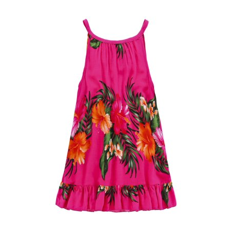 Girl Round Neck Tunic Hawaiian Luau Dress in Hot Pink 2 for $<!---->