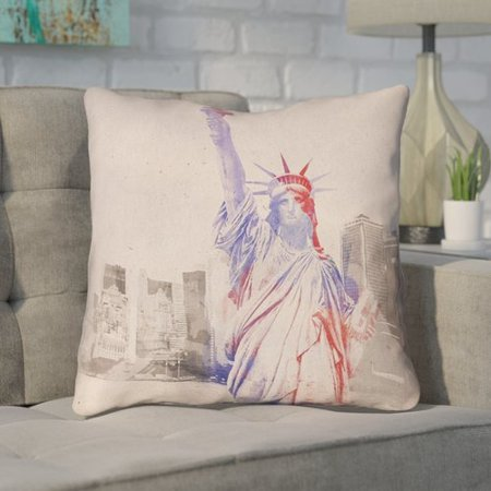 Brayden Studio Houck Watercolor Statue of Liberty Square Throw Pillow (Statue Of Liberty Dress)