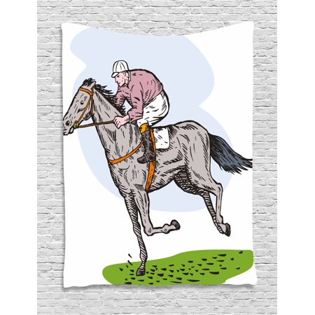 Animal Tapestry  Sketchy Horse Racing Theme Jockey Pony Stallion Riding On Field Retro Illustration  Wall Hanging For Bedroom Living Room Dorm Decor  40W X 60L Inches  Multicolor  By Ambesonne