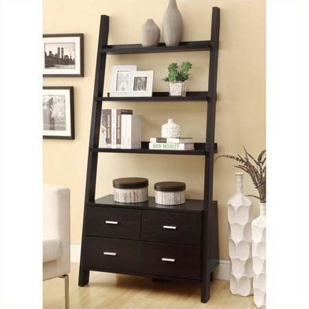 Bowery Hill Leaning Ladder Bookshelf with 2 Drawers in Cappuccino - image 1 of 1