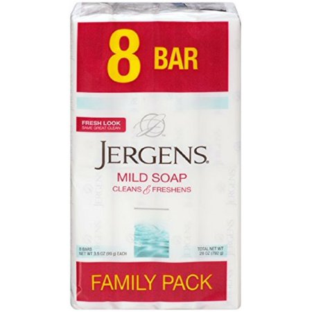 Jergens Family Pack Mild Soap 8 Bars 3.5 oz ea