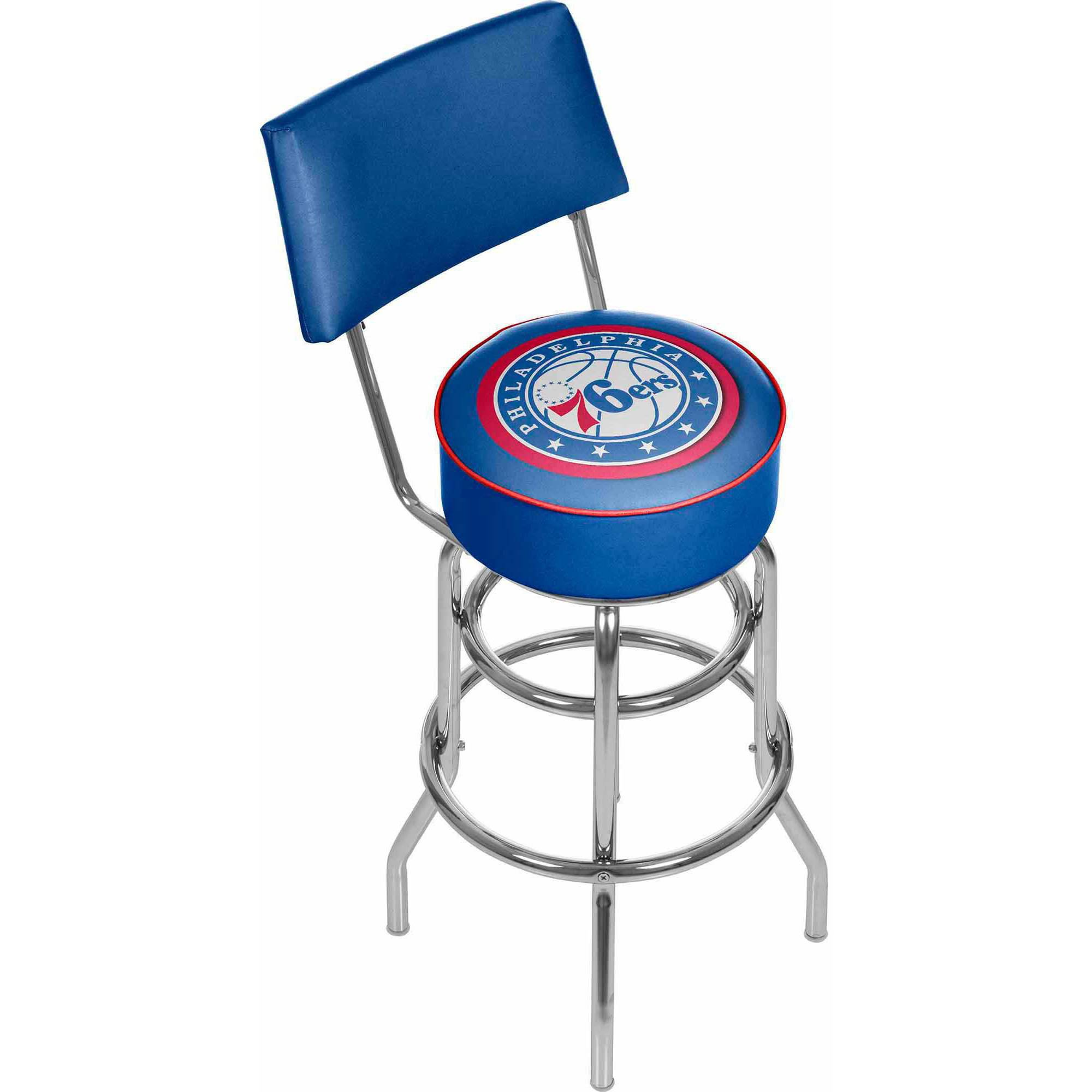 "Trademark NBA Philadelphia 76ers 40"" Padded Swivel Bar Stool with Back, Chrome"