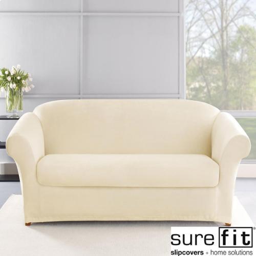 Sure Fit Stretch Plush Cream Sofa Slipcover Walmart Com