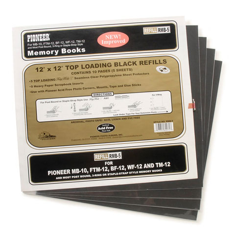 Pioneer Page Protector 12X12 5Pk Holds 10 Pages W5 Black