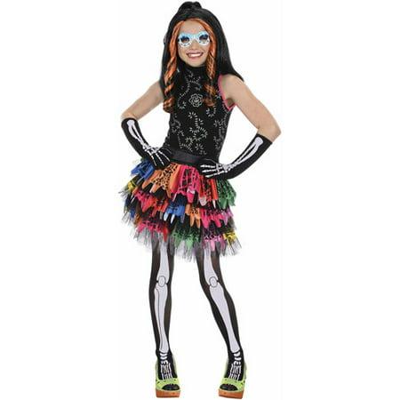 monster high skelita deluxe girls dress halloween costume - Skelita Calaveras Halloween Costume