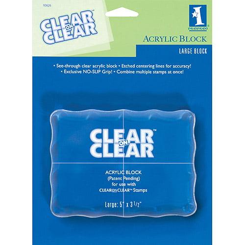 "Inkadinkado Clear On Clear Acrylic Block, Large 5"" x 3.5"""