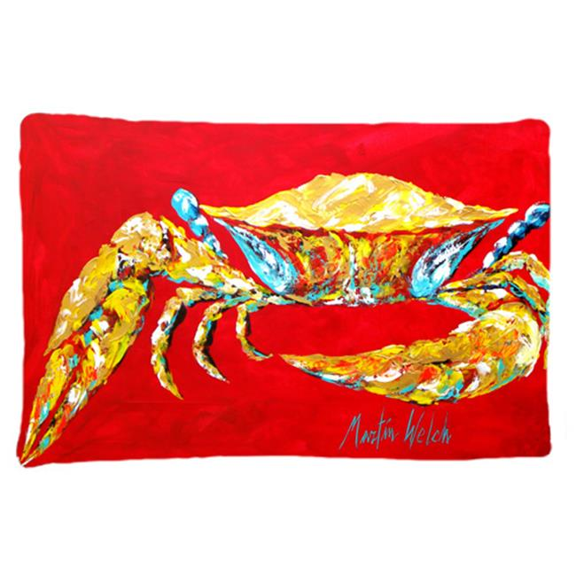 Carolines Treasures MW1116PILLOWCASE 20.5 W x 30 in. Crab Blue on Red, Sr. Moisture Wicking Fabric Standard Pillowcase - image 1 of 1