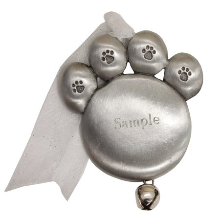 Personalized Pewter Pet Paw with Bell Christmas Ornament (Pewter Christmas Bells Ornament)