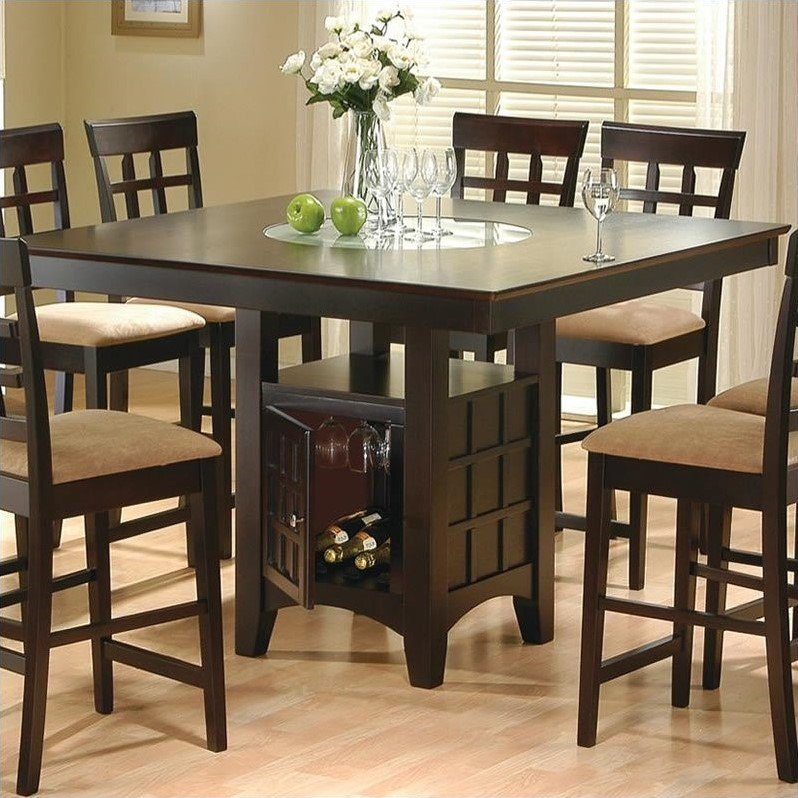 Superbe Coaster Hyde Counter Height Square Dining Table With Storage Base In  Cappuccino