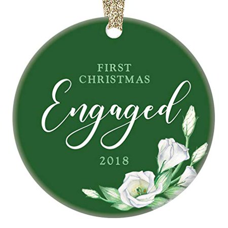 - 1st Christmas Engaged Couple 2018 Ornament First Engagement Ceramic Collectible Present for Future Mr & Mrs Wedding Pretty Green & White Roses 3