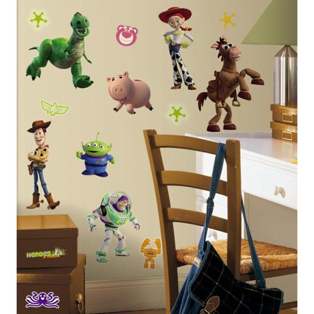 Toy Story 3 Glow in the Dark Peel & Stick Wall Decals Woody Buzz Stickers