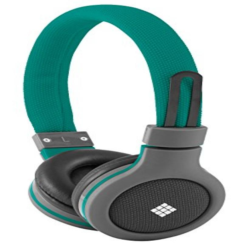 Polaroid PHP120GR Canvas Headphones With Mic, Noise Isolation Green