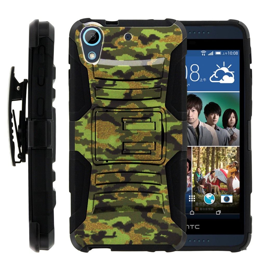 HTC Desire 626 Case | HTC Desire 626 Holster Case [ Clip Armor ] HTC 626 Dual Layered Case with Kickstand + Belt Clip - Green Digital Camouflage
