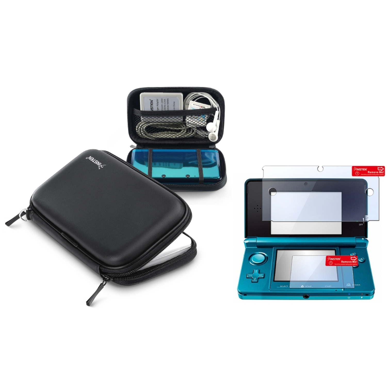 Insten For Nintendo 3DS BLACK EVA CASE WITH SCREEN PROTECTOR
