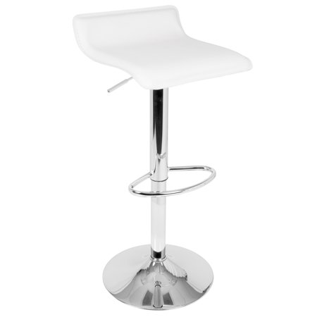 Ale Contemporary Adjustable Barstool in White Faux Leather by LumiSource - Set of 2