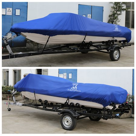 """14-16ft 90"""" 300D Polyester Boat Cover Waterproof Blue V-Hull Protector - image 2 de 9"""