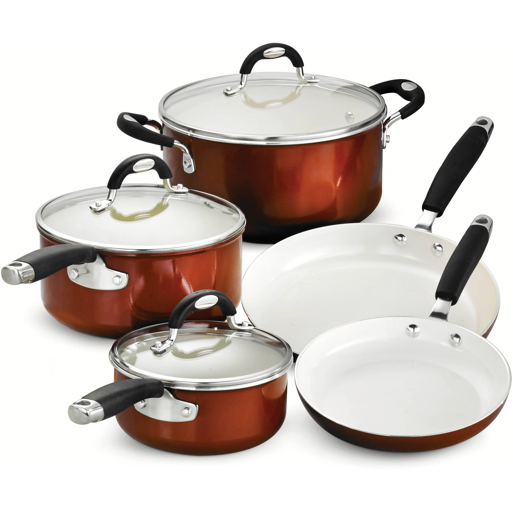 Tramontina Style 8-Piece Cookware Set, Metallic Copper