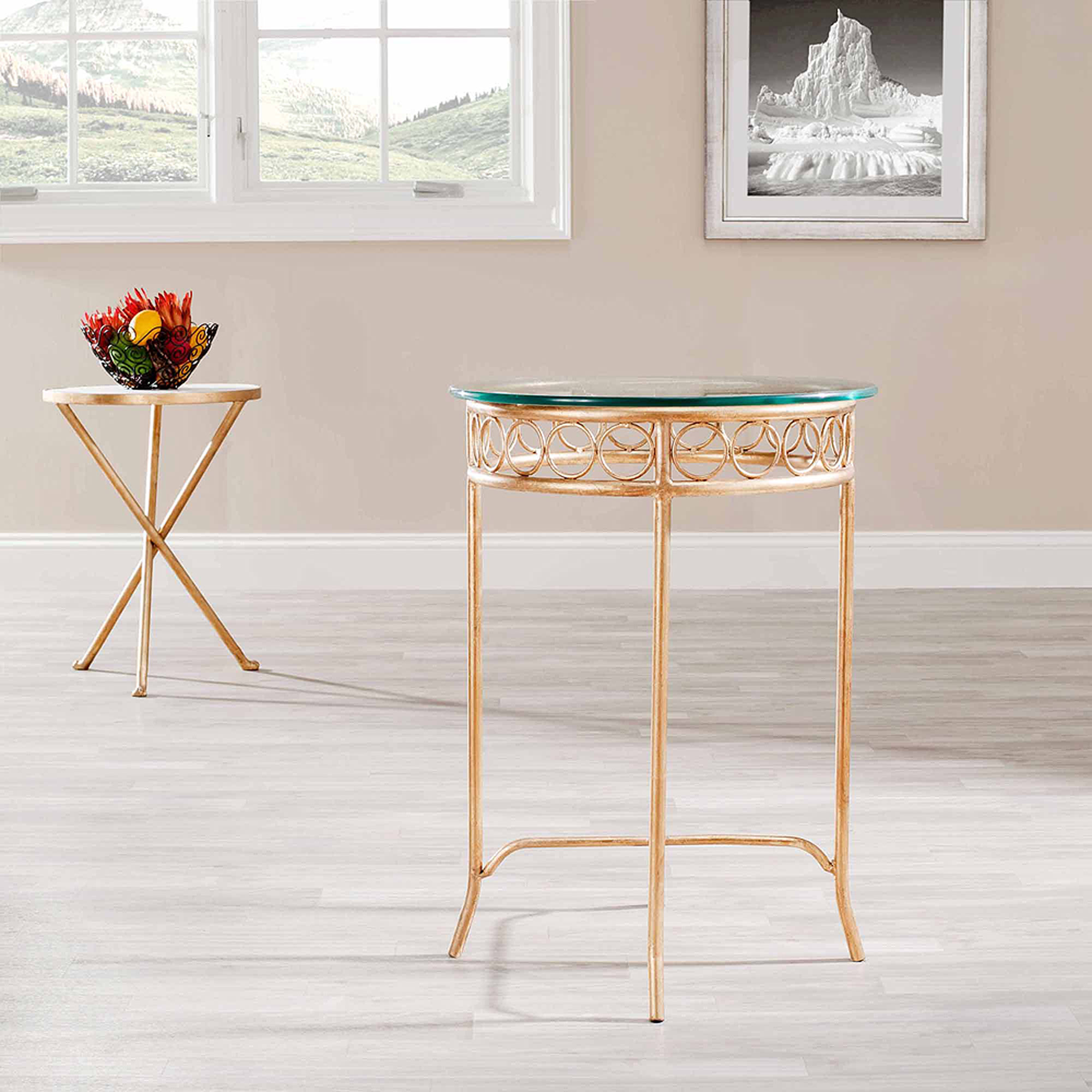 Safavieh Asa Accent Table, Clear Glass Top Gold Legs by Safavieh