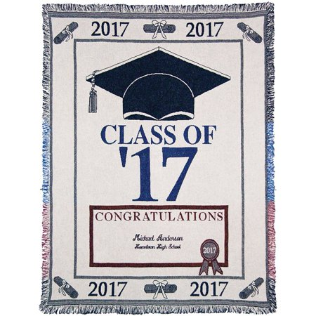 Personalized Class Of 2017 With Name & High School Graduation Throw Blanket, From US,Brand A Plus Marketing