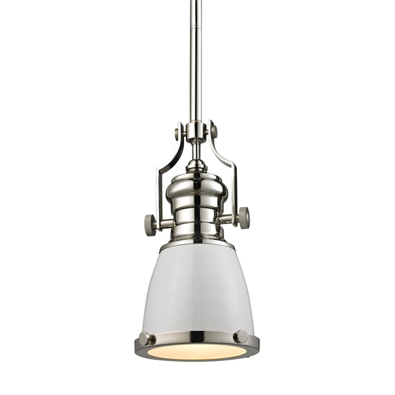 Elk Lighting Chadwick Pendant in Gloss White and Polished Nickel - image 1 de 1