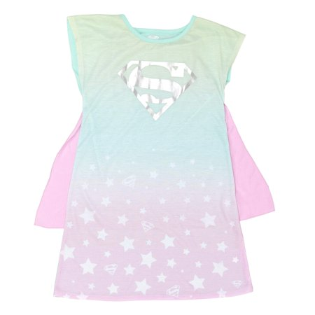 Girls' Justice League Girl's Superman Pajama Gown with Removable Cape (Little Girl & Big Girl)