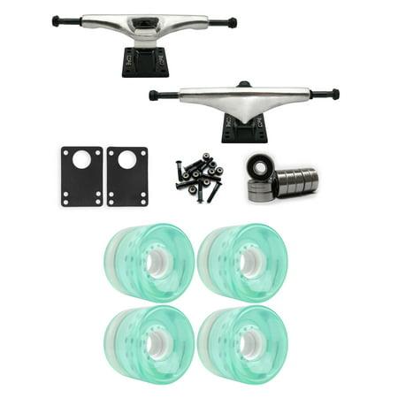 Core 7.0 Longboard Trucks Wheels Package 65mm x 51.5mm 83A 635C Blue Clear