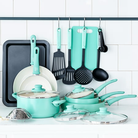 GreenLife Ceramic Non-Stick 18 Piece Cookware Set, Turquoise ()