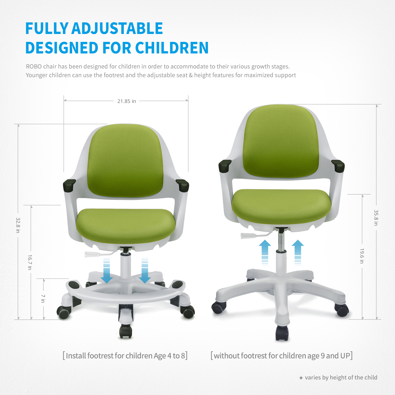 Sitrite Children Chair For Kids Desk Height Control Student Study Adjule Seat Office